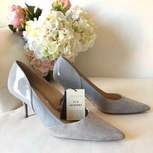Zara Leather Gray Heels